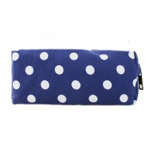 PC - Miss Lulu Canvas Pencil Case  Polka Dot Navy
